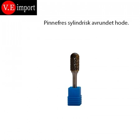 Sylindrisk avrundet hode pinnefres Double-cut 12mm