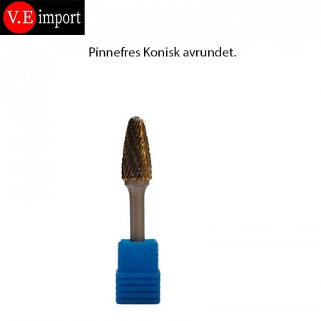 Carbid Kjegle (rundbue) pinnefres Double-cut 12mm