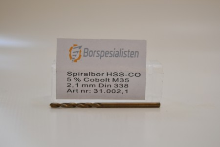 HSS-CO  spiralbor med cobolt 5% 2,1 mm