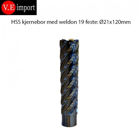 21x120 mm lange kjernebor Weldon 19mm
